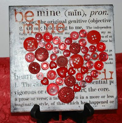 Mama's Crafts: Button Art Heart Tile 2....