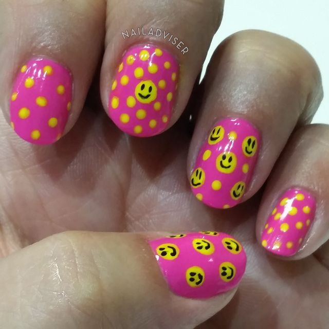 31 Day Challenge 2014 - Polka Dots, smiley faces, nail art design