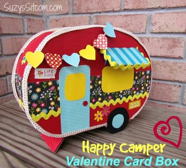 DIY happy camper valentine card box! Learn how to create this craft project for a Valentine's Day box for your child's Valentines! #valentines #valentinesday #diy #crafts #valentinecraft #camper #card #valentine