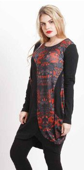 Black with Red/Grey Detail Tunic - Winter 2015 Collection - HOLMES & FALLON
