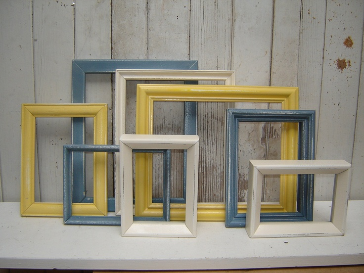 painted frame set collection  8 picture frames -  yellow slate blue and white picture frames wall gallery. $78.00, via Etsy.