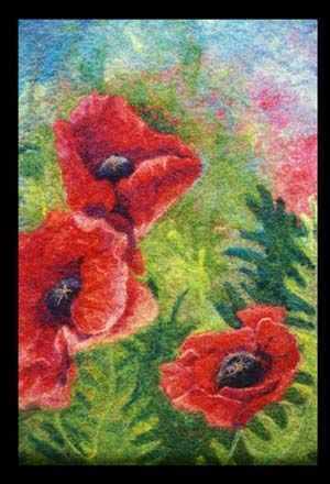 """Watercolor Series: """"Oriental Poppies"""" by Pat Sparks. Using the watercolor felt technique."""