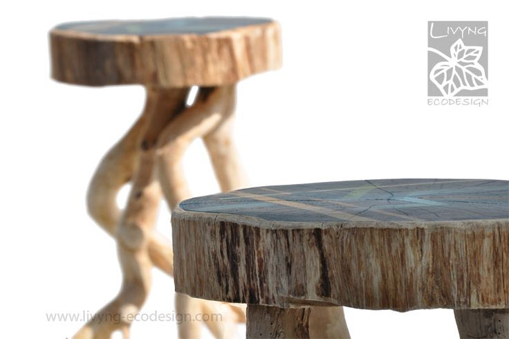 Stools Unique and comfortable seats where the ivy indiscipline is the prominent element.  The dynamic shape creates a lively effect without compromising the functional stability of the object. The seat is constituted by a cylindrical hand decorated acacia log. #LivyngEcodesign #driftwood #naturalwood #handmade