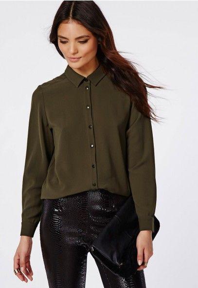 Curved Hem Boyfriend Shirt Khaki - Tops - Shirts & Blouses - Missguided