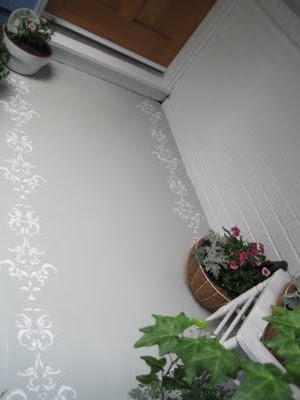 A cheaper version of how to stencil concrete! haha This is more my speed and the fear factor dropped considerable after reading. {Beautiful Nest}: Painted and Stenciled Front Porch