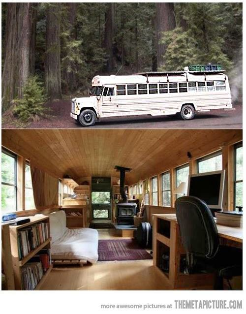 Converted school bus to RV.  Well when my dad brings up his old bus we will have our next remodel project. Between the two of us we have the skills to do something like this.