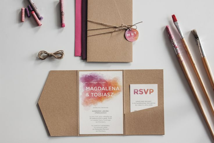 Wedding invitation - kraft paper, watercolors, eco, vintage, pink, paint. | Zaproszenie ślubne z motywem akwareli w formie jednostronicowej kartki umieszczonej w folderze z brązowego papieru ekologicznego. #invitation #weddinginvitation #watercolor #watercolors #pink #paint #eco #rusticwedding #boho #ecopaper #ecowedding