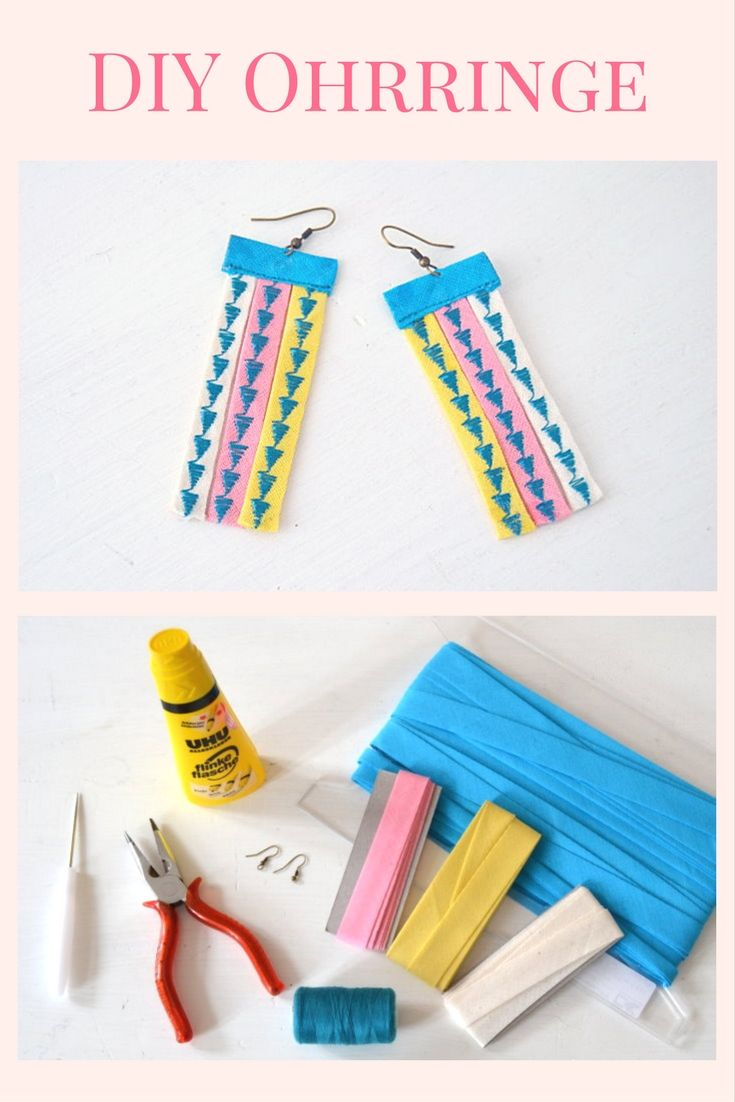 DIY Ohrringe aus Schrägband selber machen / Anleitung