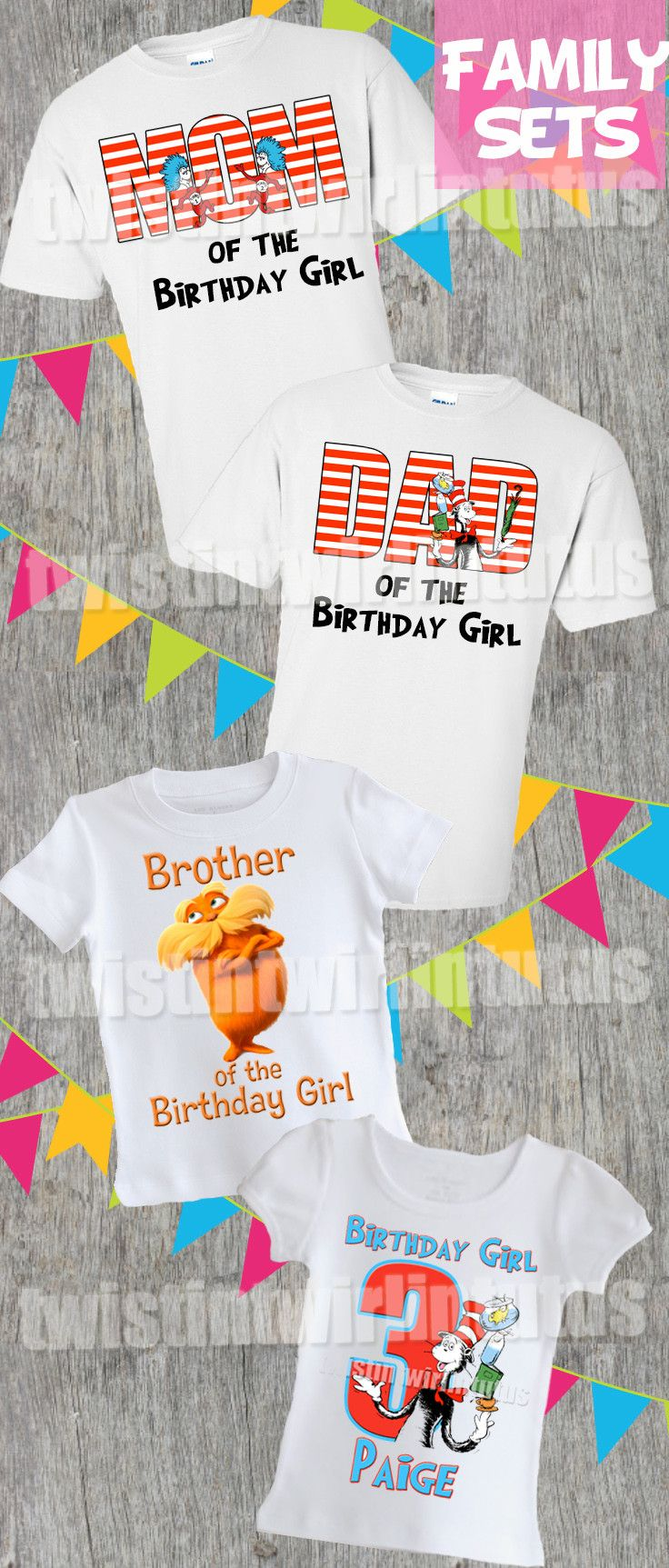 Cat in the Hat Family Set | Cat in the hat birthday party ideas | Cat in hat birthday shirts | Dr. Seuss Birthday Party Ideas | birthday ideas for girls | Birthday ideas for boys | Twistin Twirlin Tutus #drseussbirthday