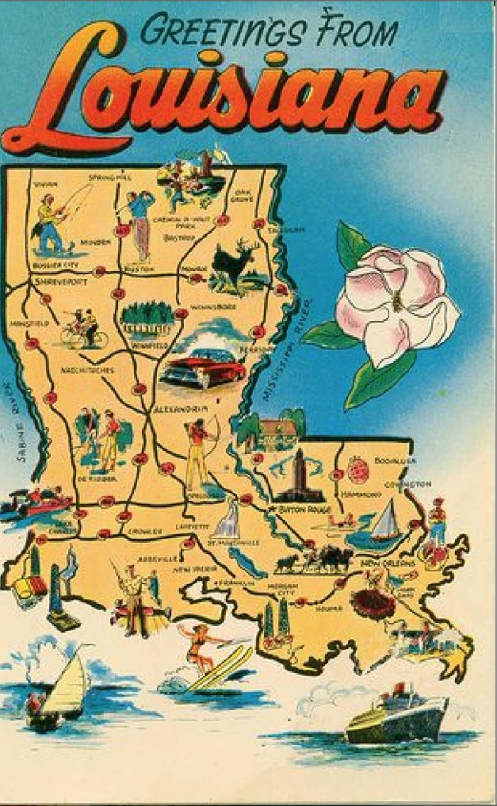 4. A retro map that includes all the great activities Louisiana has to offer!