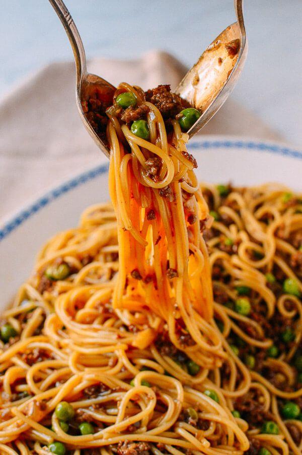 Chinese Spaghetti Bolognese, by thewoksoflife.com