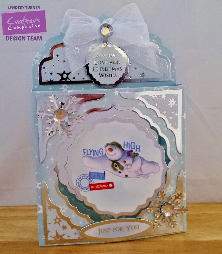 Crafters Companion Snowman/Snowdog Card Kit - Box Card  (image hanging by invisible thread in front aperture)