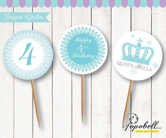 Frozen Cupcake Topper for Frozen Birthday Party. Personalized Frozen Circles 2 inches diameter size. DIY Party Printable. In 3 designs