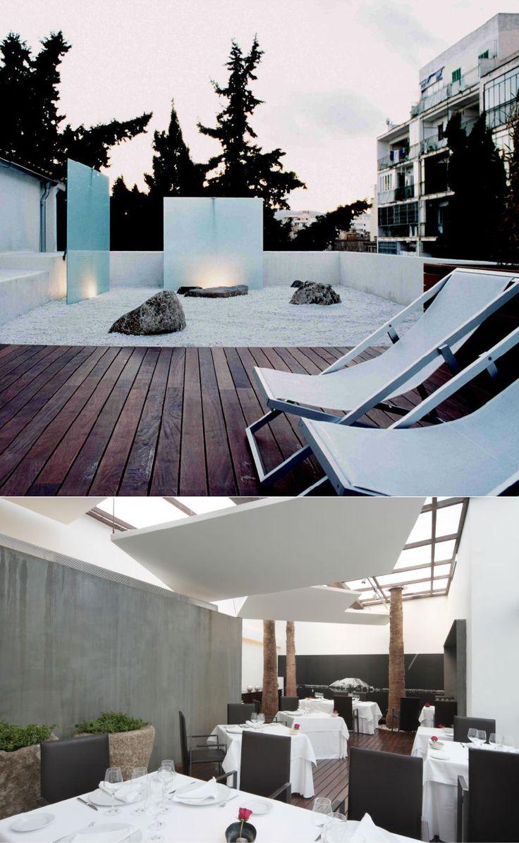 Convent de la Missió | Boutique Hotel | Palma de Mallorca | Spain | http://lifestylehotels.net/en/convent-de-la-missio | outside view, relax, lounger, terrace, wood, minimalistic, luxury, wellness, dining area, restaurant