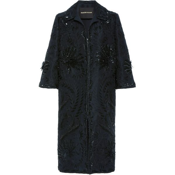 Naeem Khan Sequin Embroidered Coat (351,430 PHP) ❤ liked on Polyvore featuring outerwear, coats, black, embroidered coat, naeem khan and sequin coat