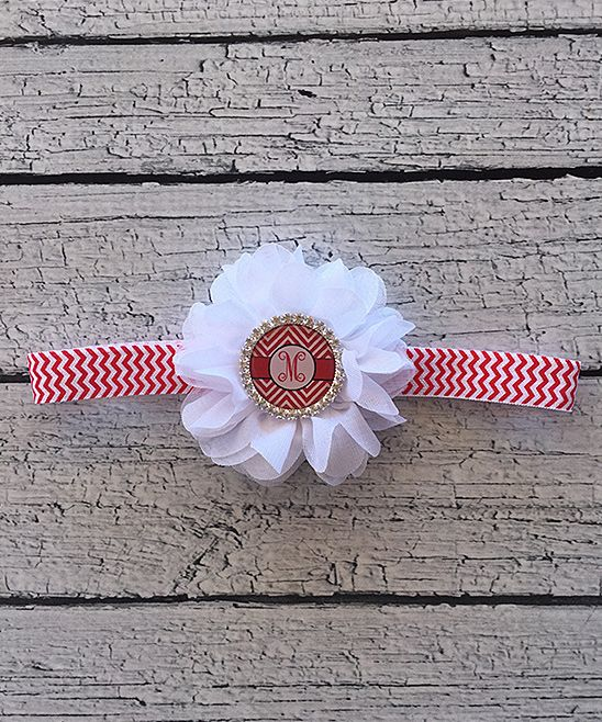 Red Chevron Initial Headband - Infant