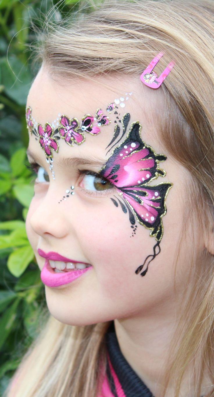 vlinder bloemen schmink - Butterfly flower Face Painting www.hierishetfeest.com