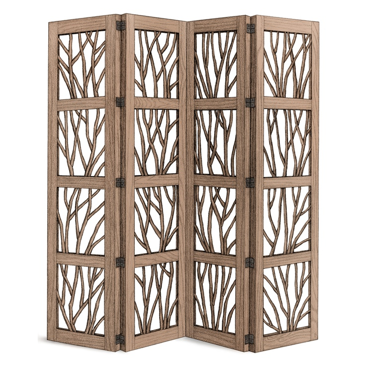 Rustic Four Panel Screen #5003 shown in Natural Finish (on Bark) by La Lune Collection