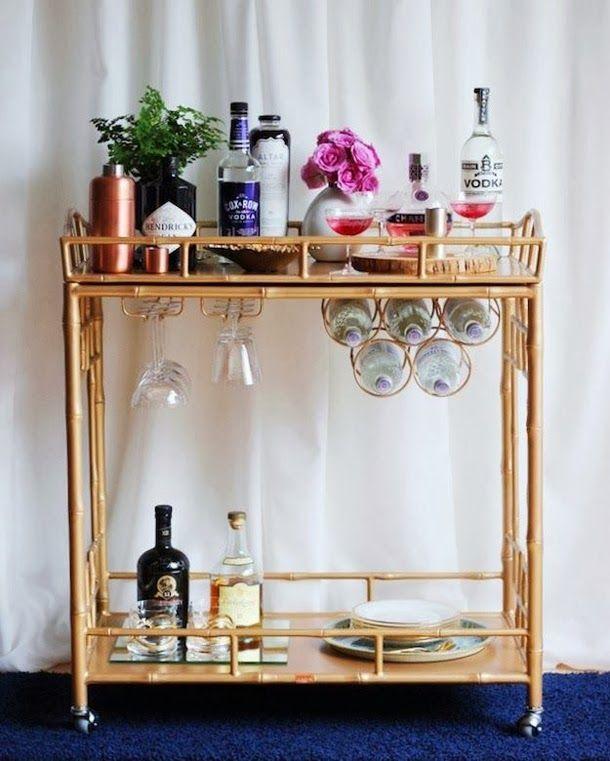 Fresh Bar Cart with Wine Glass Holder