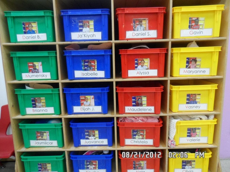 Classroom Cubby Ideas : Cubbies labeled with names and pictures of each child