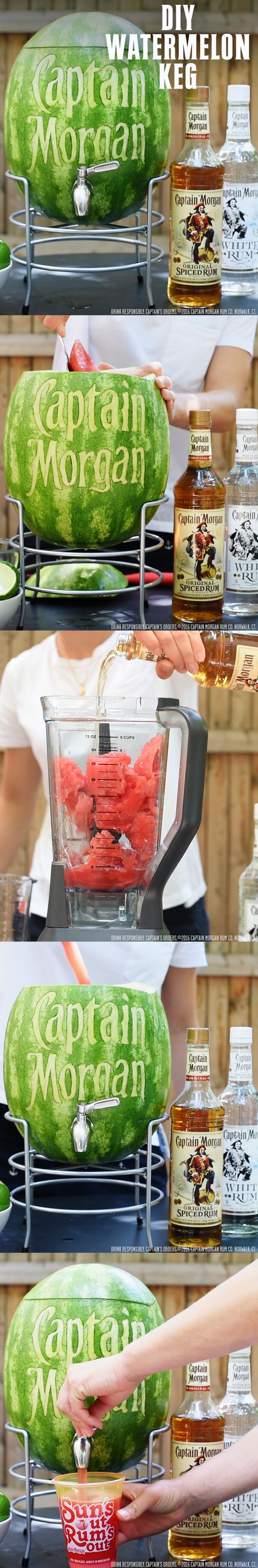 To ensure fruit is a crucial part of a balanced Summer, try marking your own Captain Morgan watermelon keg: 1.5 oz Captain Morgan Original Spiced Rum 3 oz Watermelon juice 0.5 oz lime juice 0.5 oz sugar syrup Get more summer rum recipes at https://us.captainmorgan.com/rum-cocktails/?utm_source=pinterest&utm_medium=social&utm_term=summer&utm_content=watermelon_keg&utm_campaign=recipe