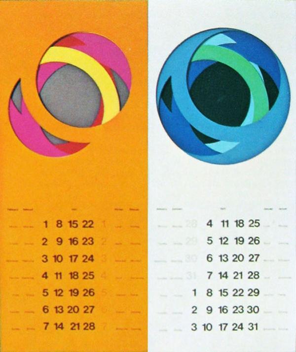 """Paul Ibou.Calendario """"Paper-art"""" Series. 1968"""