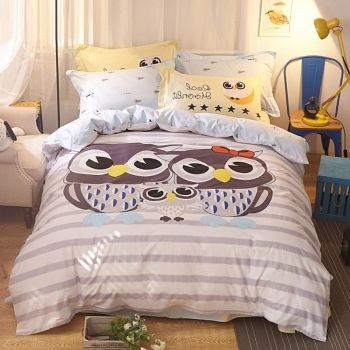 beautiful grey black white and blue cute owl print animal themed funky style 100 cotton