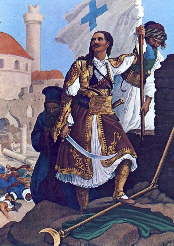 Πίνακας του Πέτερ φον Ες με θέμα την άλωση της Τριπολιτσάς. Ο Παναγιώτης Κεφάλας υψώνει την επαναστατική σημαία στις επάλξεις των τειχών της πόλης. Αν δεχθούμε τη συνεργασία του Παπαφλέσσα με τον Κεφάλα για την κατασκευή της σημαίας ως γεγονός, τότε ο Γερμανός καλλιτέχνης δεν απέδωσε στη σωστή θέση τα χρώματα.