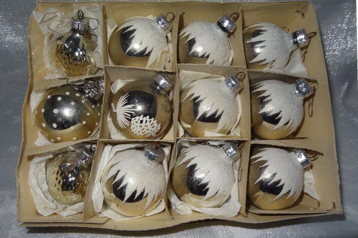 schöne beschneite DDR Christbaum Kugeln Silber in Originalverpackung Konvolut | eBay