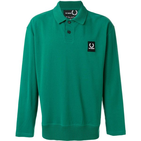 Raf Simons X Fred Perry polo shirt (€105) ❤ liked on Polyvore featuring men's fashion, men's clothing, men's shirts, men's polos, green, mens long sleeve shirts, mens cotton shirts, mens long sleeve polo shirts, mens long sleeve cotton shirts and fred perry mens shirts