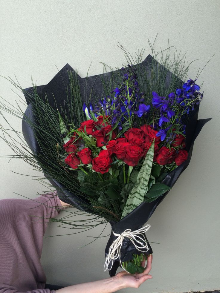One big bunch of roses and blue! Custom order, by Bloom Tribe