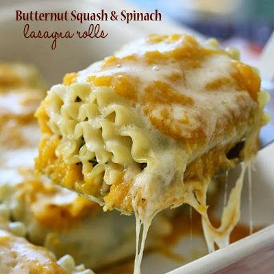 Butternut Squash and Spinach Lasagna Rolls @keyingredient #cheese #italian #glutenfree