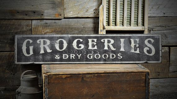 Groceries & Dry Good Distressed Sign, Kitchen Sign, Kitchen Plaque, Kitchen Wall Decor, Rustic Sign, Vintage Kitchen Sign Wooden ENS1000538