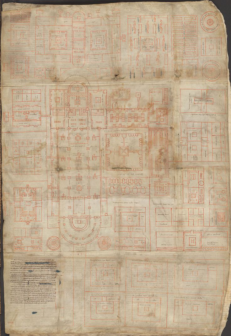 836 Plan of Saint Gall - monastic compound from 9th Century and rare example of architectural drawing from period