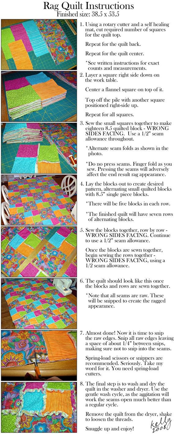 rag quilts.  this also leads to another site with the rag quilt with full pieces on sides after put together