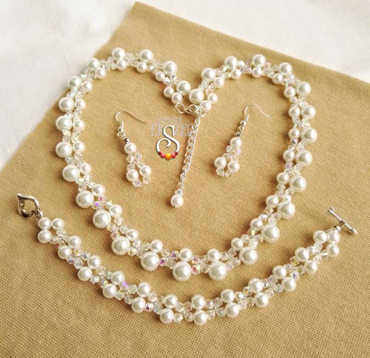 Kristályos menyasszonyi, esküvői ékszer szett,  szeszeekszer.hu Wedding Jewelry Set, Bride Jewelry