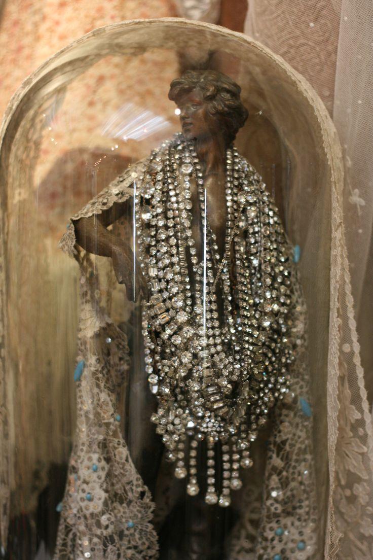 Diamante necklaces...love the Art Nouveau Statue