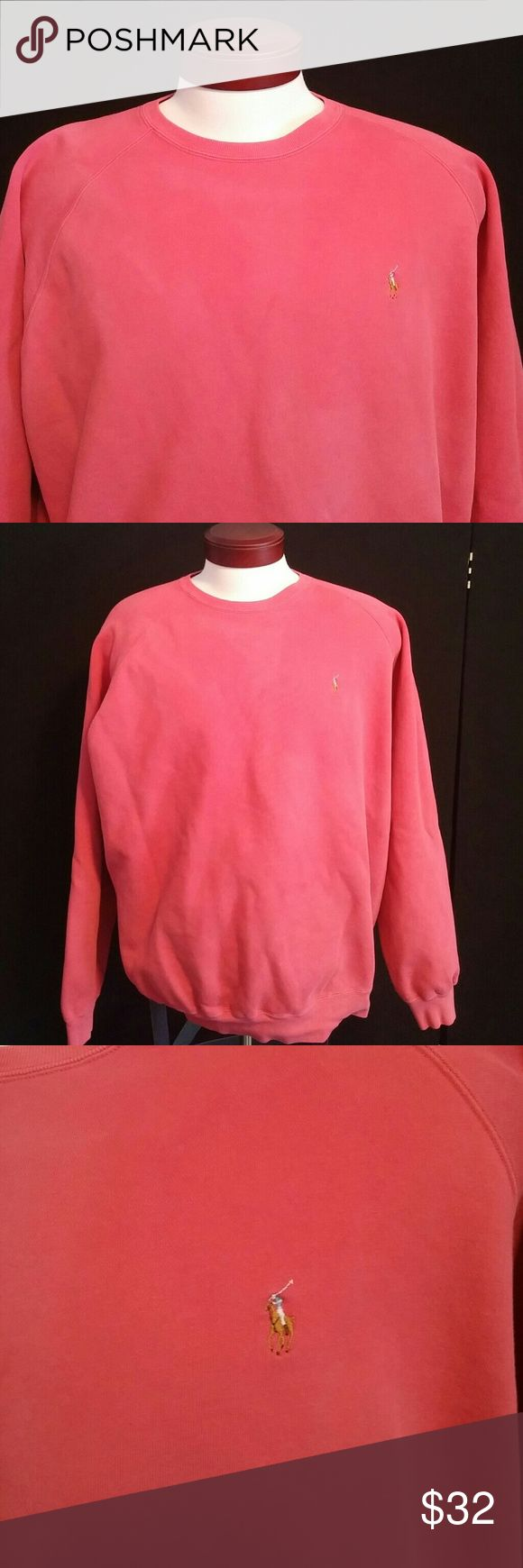 Men's Ralph Lauren polo sweatshirt Very nice distressed Ralph Lauren polo sweatshirt. Pink / salmon color. Perfect for Summer Nights. This sweatshirt has some perfect worn fade spots that make it look even cooler than it is. They are very faint and make it look a little distressed and nice. Vintage??? Polo by Ralph Lauren Shirts