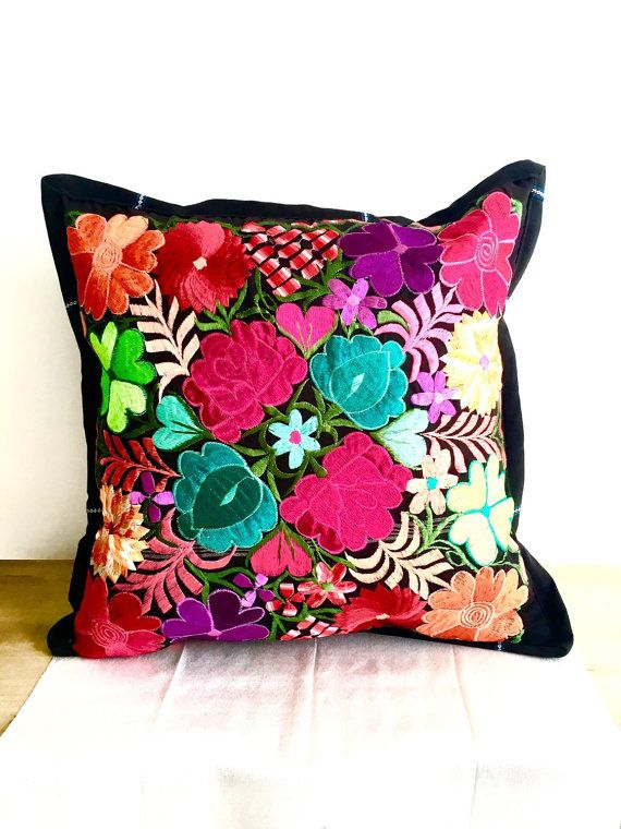 Colorful Flowers from Mexico / Beautiful Embroidered Floral Colorful Pillow…