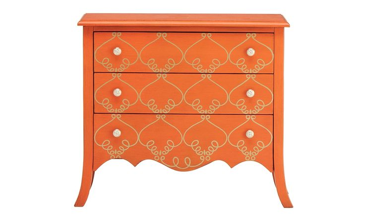 Add personality with this antique orange chest! The details speak for themselves!