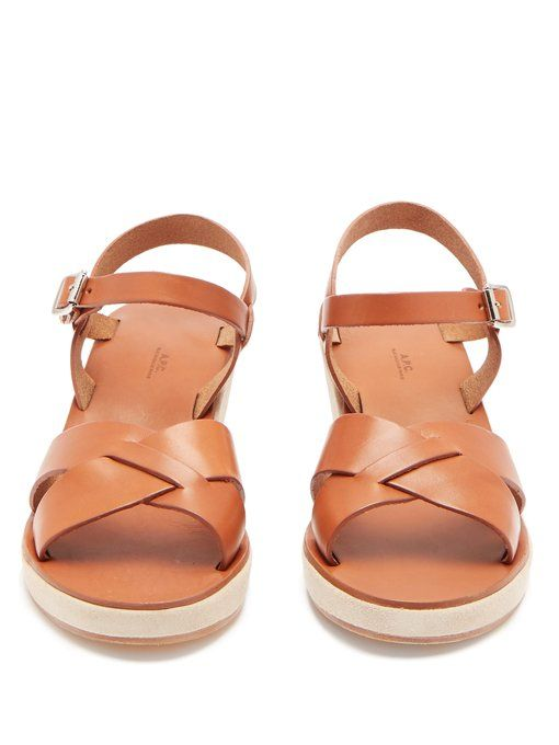 64e25bee5 A.P.C. Judith leather and suede wedge sandals