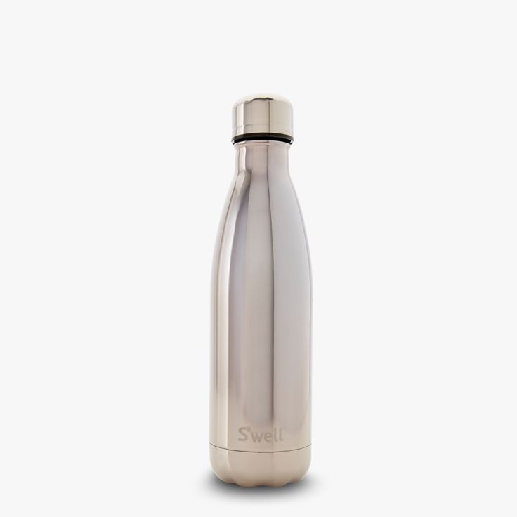 S'well stainless steel water bottle with a silver reflective finish. Keeps liquids cold for 24 hours and hot for 12.
