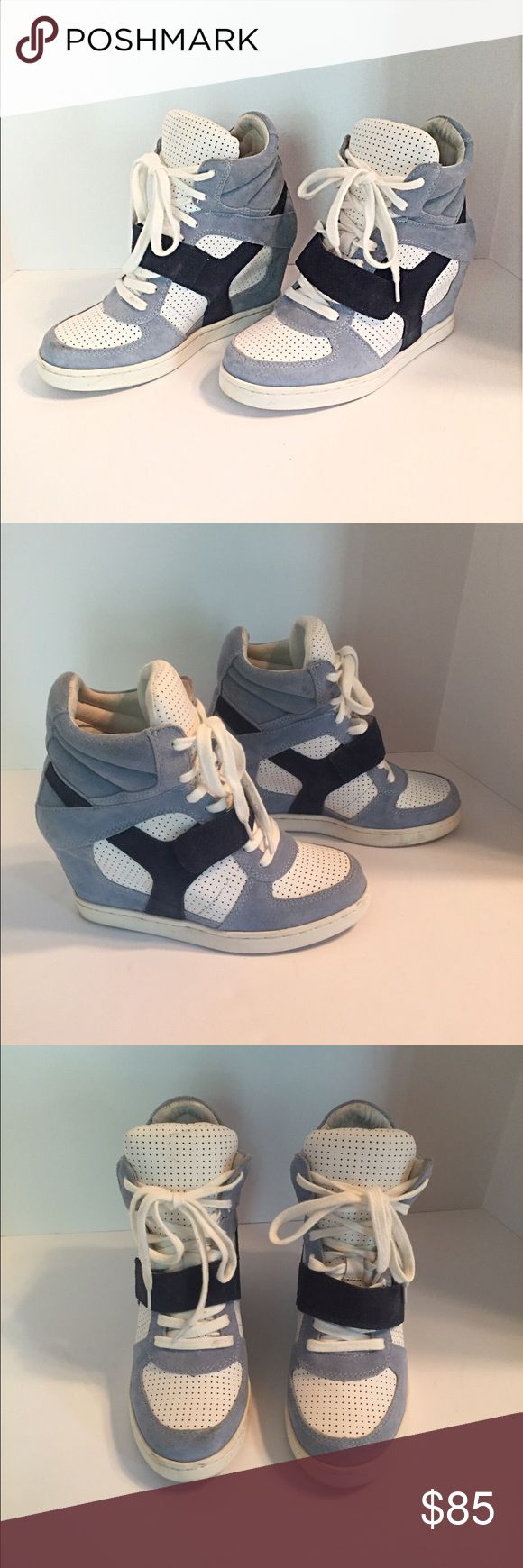 "Ash Sky Blue Suede & White Wedge Sneakers Casual cool wedge sneakers. Light blue and navy suede with perforated white leather. Lace up with a single grip strap and covered 3.5"" wedge heel. Euro size 38 Ash Shoes Sneakers"