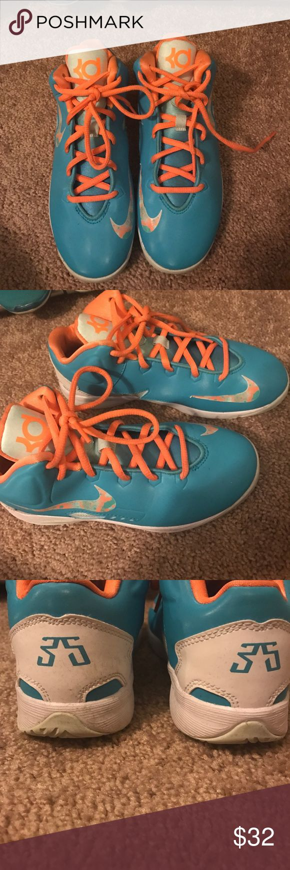Nike KD basketball shoes Miami dolphins colored KD shoes, Kevin Durant , good condition other than the last photo partial of the Nike check is coming off Nike Shoes Sneakers
