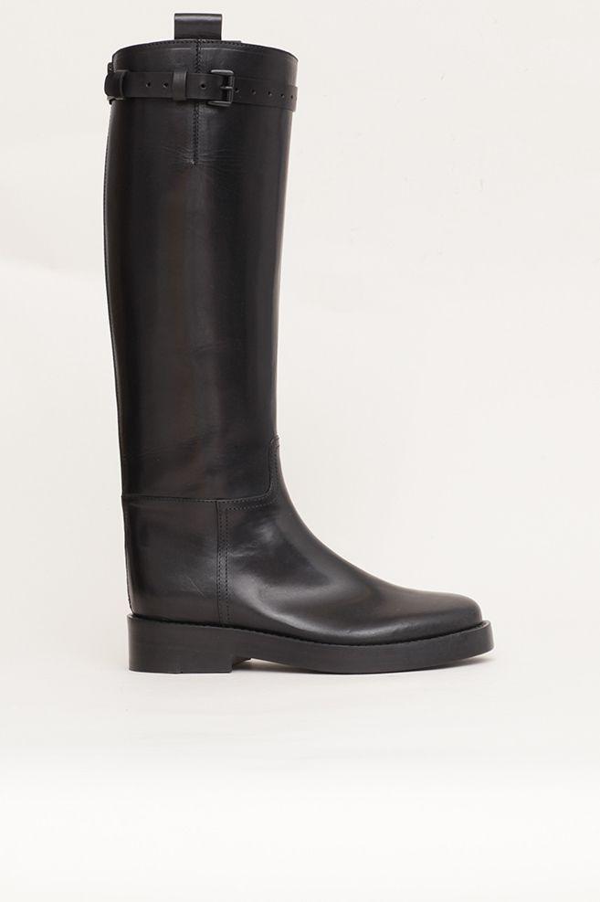 2f0423e385f39 Ann Demeulemeester Vitello Lucido Riding Boot. Ann DemeulemeesterKlamry Od  PaskaCzarna Skóra