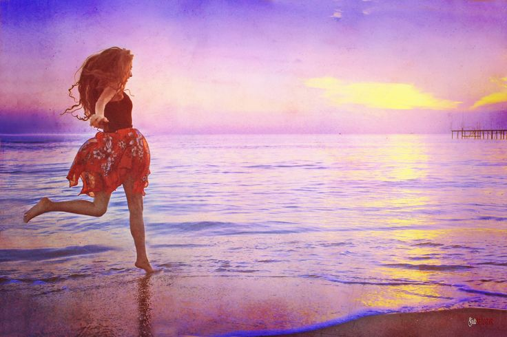#beach #beautiful #fine art #girl #hair #joy #long hair #people #portrait #purple #sea #sunset #sunshine #water #waves #woman