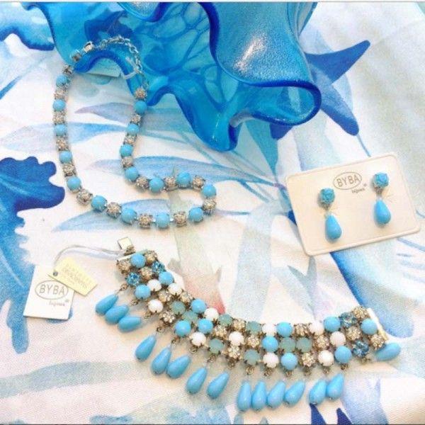 Girocollo azzurro con strass Byba Bijoux