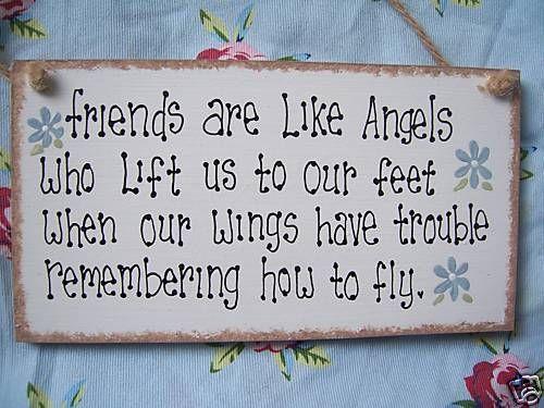 FRIENDSHIP ANGEL WOODEN PLAQUE SIGN KEEPSAKE GIFT
