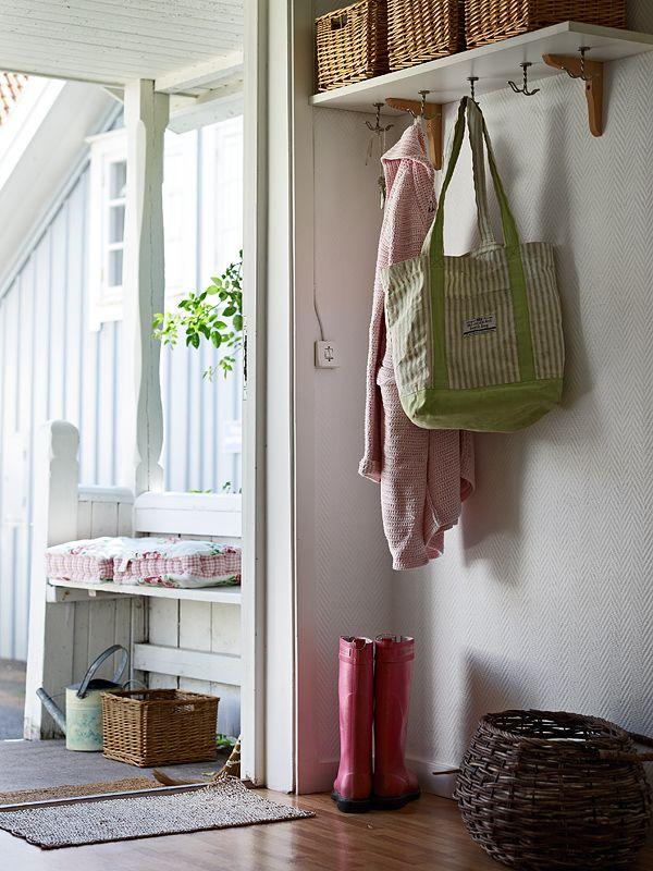 Mudroom ideas - love the hooks under the shelf!: Good Ideas, Back Doors, Entryway Storage, Entryway Mudroom, Hallways, Smart Storage, Mud Rooms, Laundry Rooms, Hooks Underneath