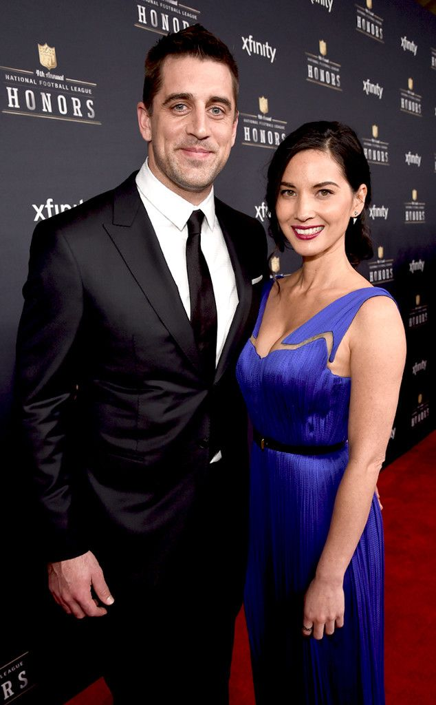 Aaron Rodgers& Olivia Munn from Celebs at Super Bowl 2015 | E! Online